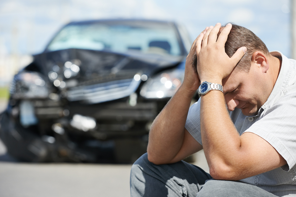 Man in an auto accident needs chiropractic care.